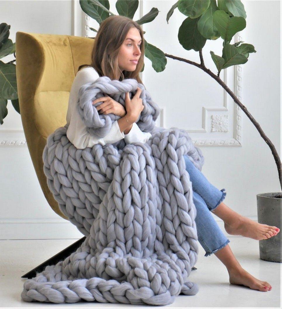 Grey Chunky Knit Blanket – 7
