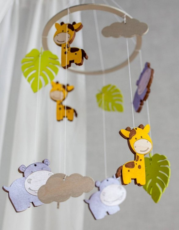 A perfect addition to any baby's room, the Hippo Wooden Baby Mobile enchants children's eyes and escorts them into the land of dreams. This enchanting neutral gender baby mobile is sure to delight any child and will make the cutest addition to a woodland themed nursery decor.