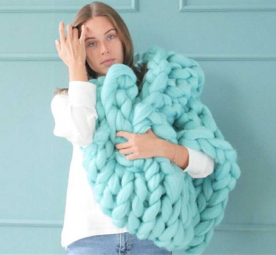 Mint Chunky Knit Blanket – 2