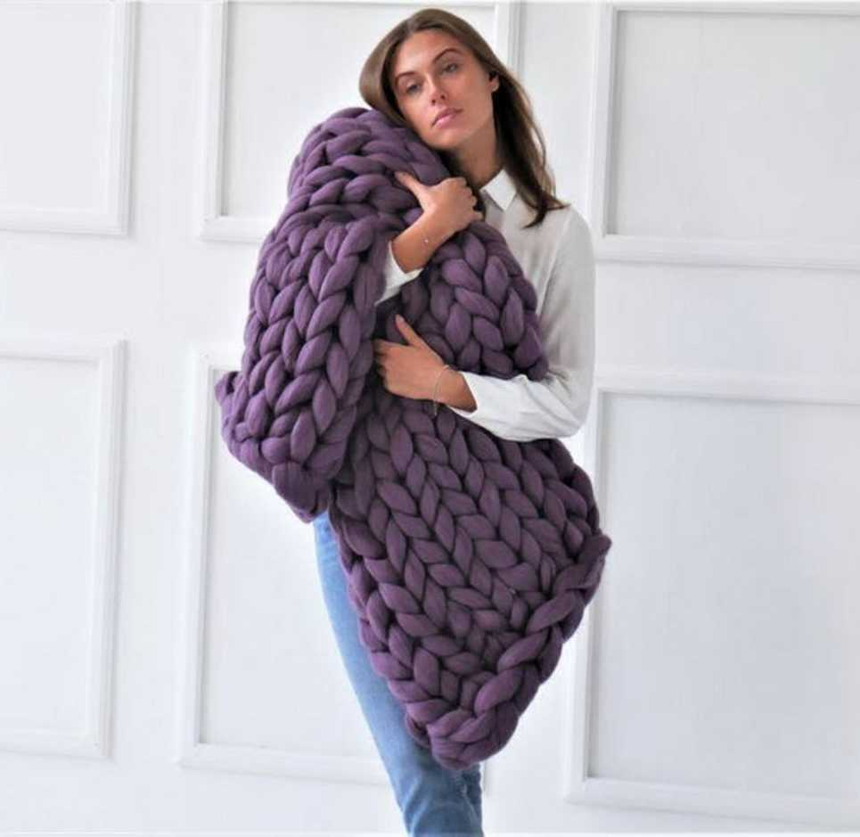 Purple Chunky Knit Blanket – 3