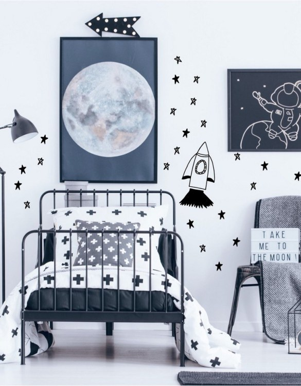 A simple and contemporary gift, the Rocket and Star Wall Stickers is the perfect finishing touch to a baby's nursery or little girl's nursery bedroom or playroom.