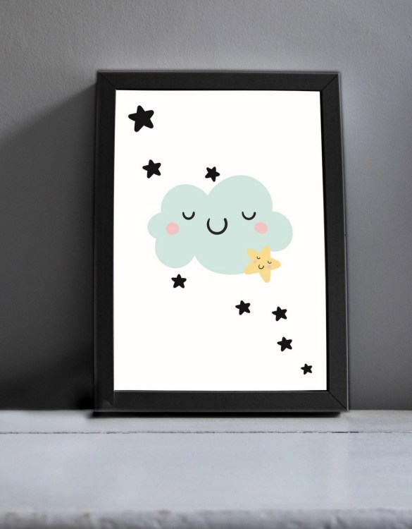 Brighten up your home with the Smiley Cloud Nursery Print. Amaze a little 'super hero' with this fabulous modern art print, lovingly made just for him.
