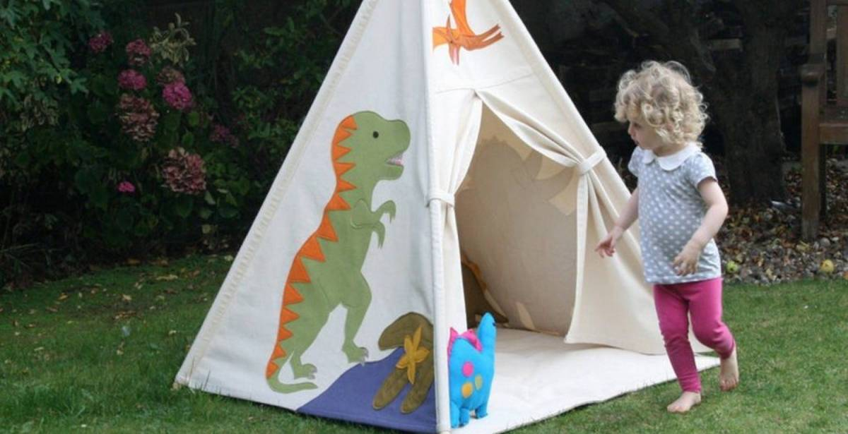 When it comes to designing the perfect playhouse, skip the mini wooden cottages and try out a teepee. They can be indoor or outdoor, are ridiculously easy to put up and move around, and won't cost you a fortune.