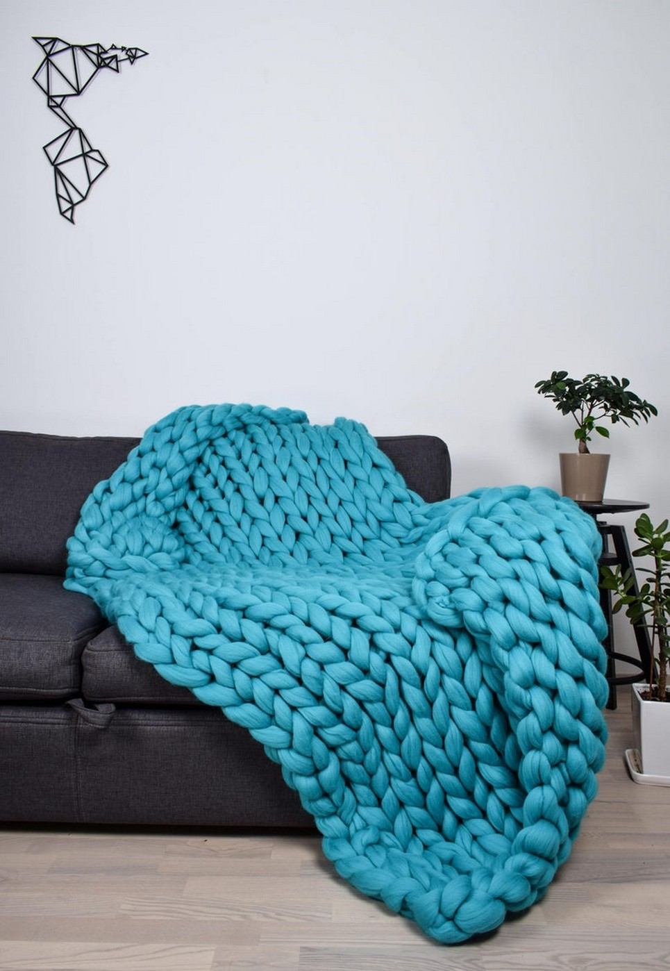 Turquoise Chunky Knit Blanket – 4