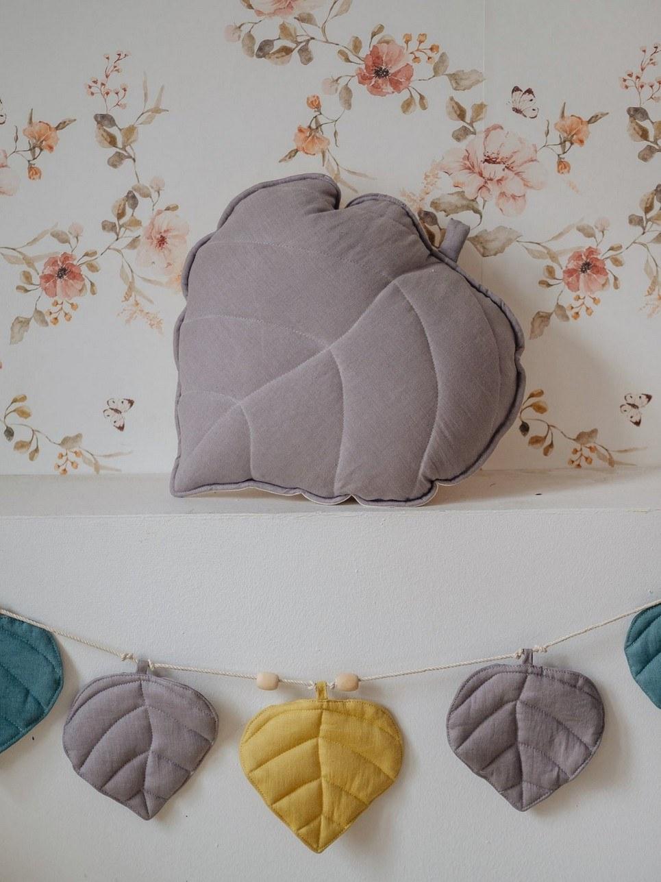 Gray Linen Leaf Cushion