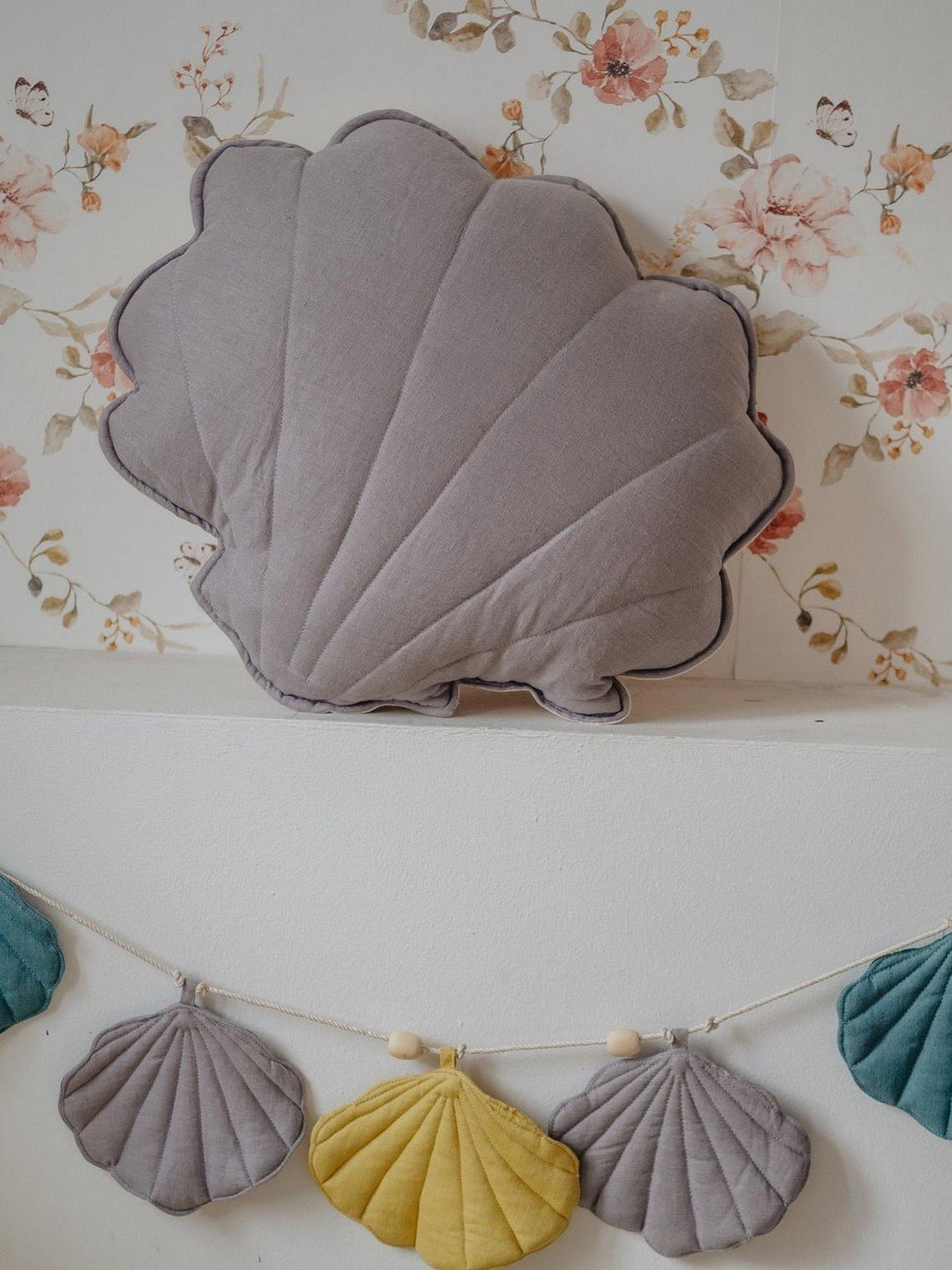 Gray Linen Shell Cushion