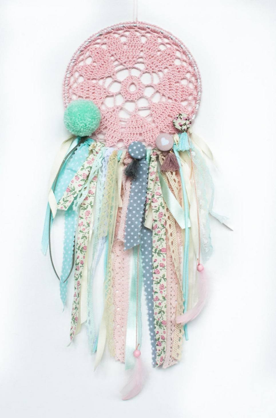 Mint Heart Handmade Dream Catcher
