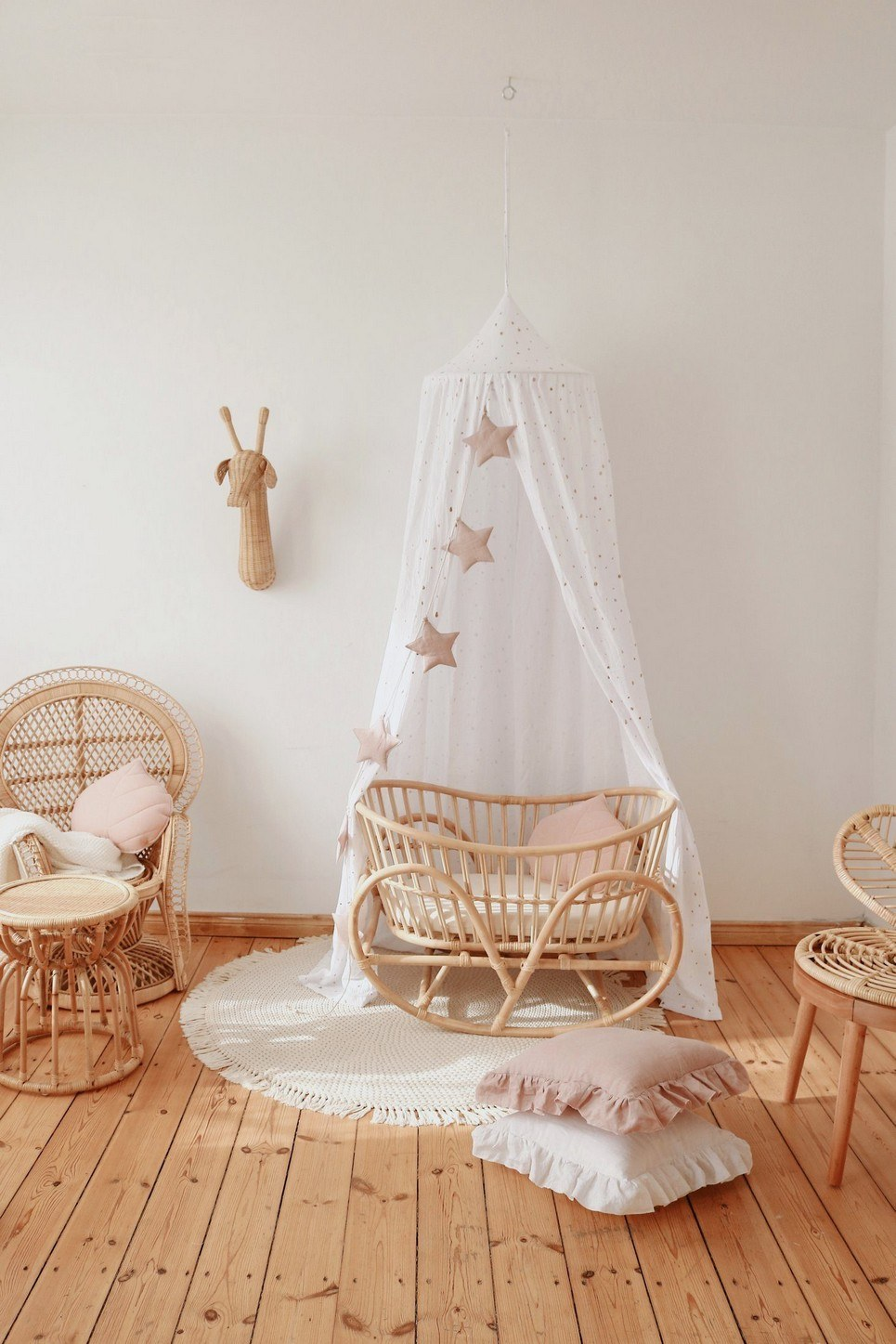 White and Gold Children's Bed Canopy