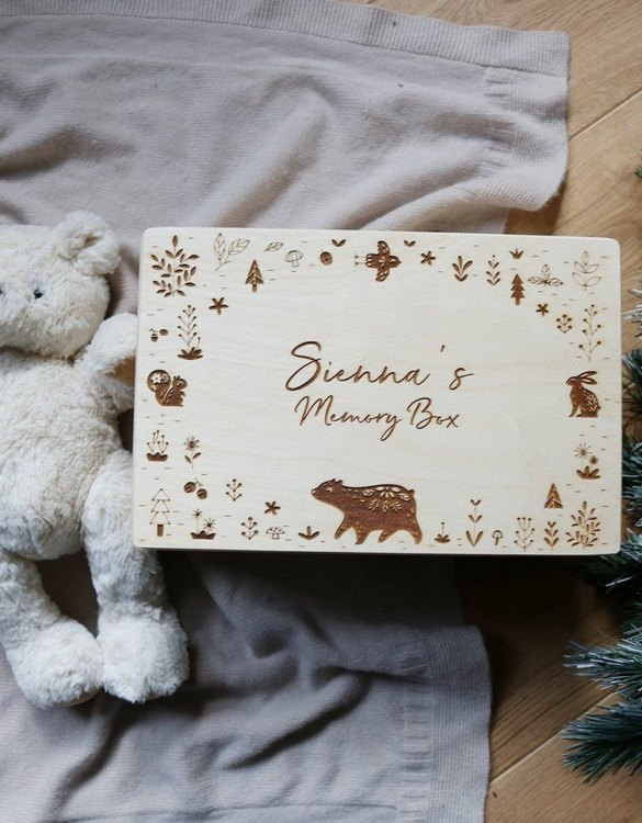Perfect for storing precious memories, the Animal Personalised Baby Memory Box is a beautiful wooden box to use for keepsakes and for all the special memories made in your baby's first year.