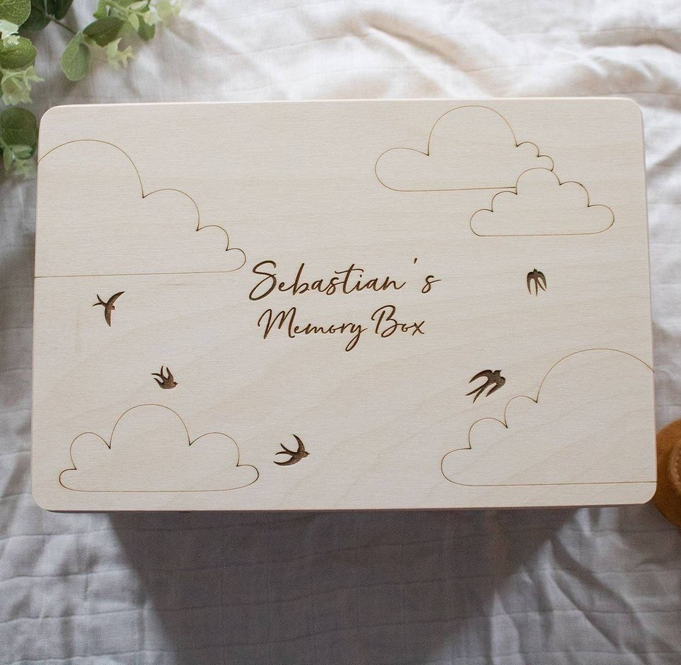 Birds & Clouds Personalised Baby Memory Box – 1