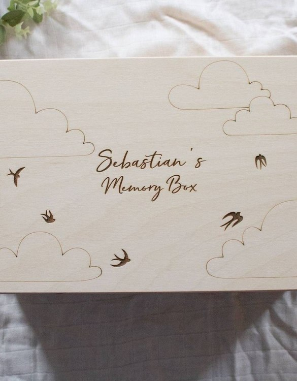 Perfect for storing precious memories, the Birds & Clouds Personalised Baby Memory Box is a beautiful wooden box to use for keepsakes and for all the special memories made in your baby's first year.