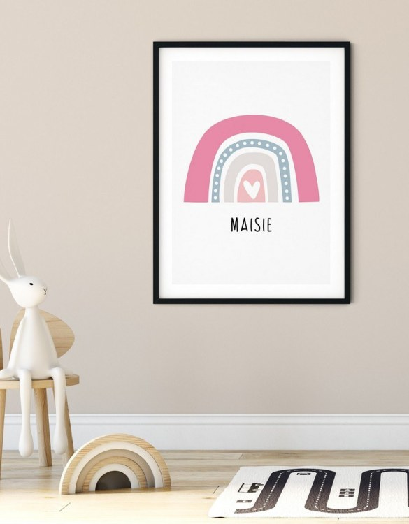 A heartfelt way of capturing a childhood memory forever, the Boho Rainbow Print - Pink & Grey is perfect to decorate your children's bedroom kids' nursery room decor art or stylish home office desk poster or living room wall.