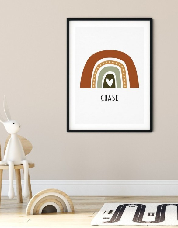 A heartfelt way of capturing a childhood memory forever, the Boho Rainbow Print - Woodland is perfect to decorate your children's bedroom kids' nursery room decor art or stylish home office desk poster or living room wall.