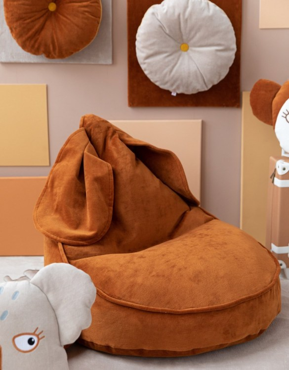 The perfect choice for toddlers and small children, the Bunny Velvet Cinnamon Children's Bean Bag is awesome to rest, sit on it while watching tv, gaming or reading a book!