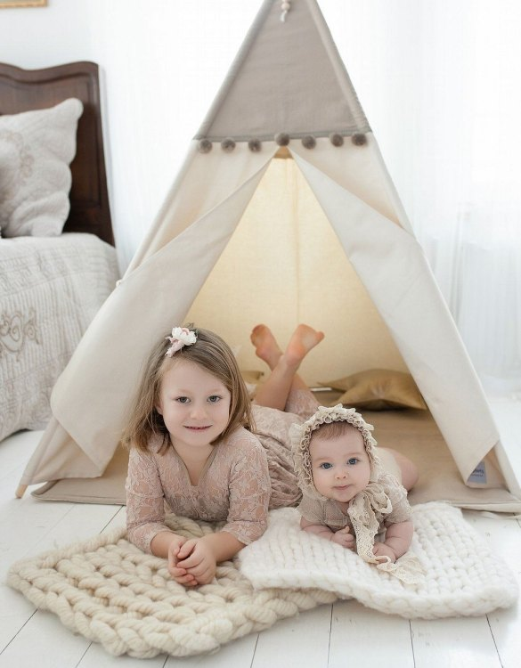 Watch your children create their own adventures with Desert Sand Children's Play Teepee! Every little adventure needs their own space to let their imaginations run wild and this kids play tent is just perfect.