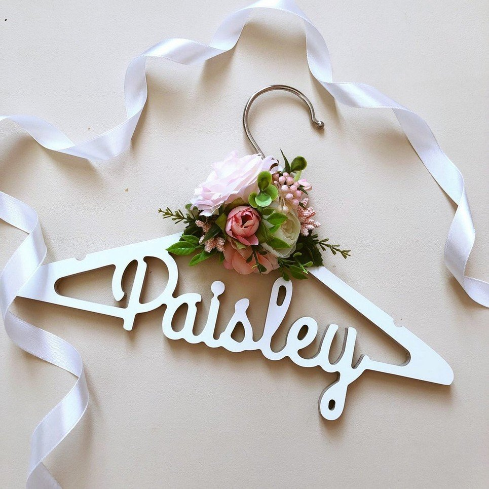 Floral Personalised Kids Clothes Hanger