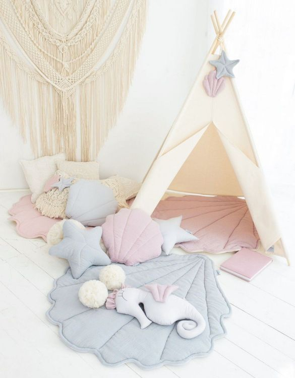 Watch your children create their own adventures with Gray Mermaid Children's Play Teepee! Every little adventure needs their own space to let their imaginations run wild and this kids play tent is just perfect.