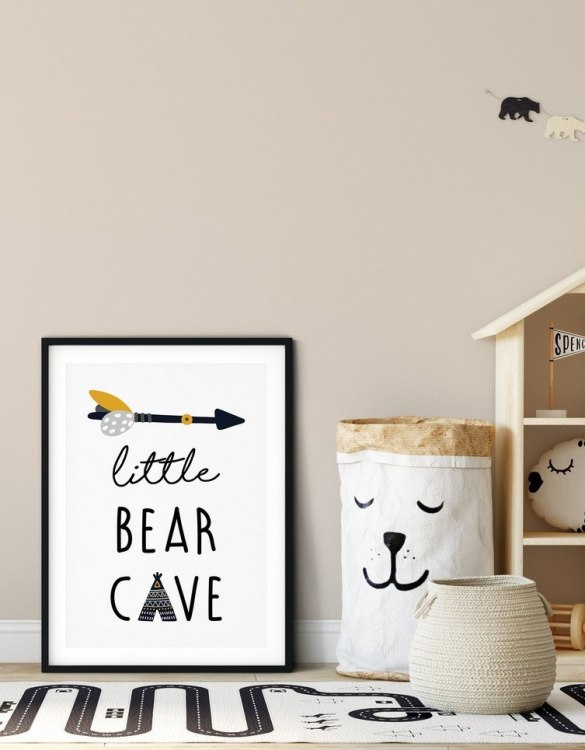 A heartfelt way of capturing a childhood memory forever, the Little Bear Cave Nursery Print is perfect to decorate your children's bedroom kids' nursery room decor art or stylish home office desk poster or living room wall.
