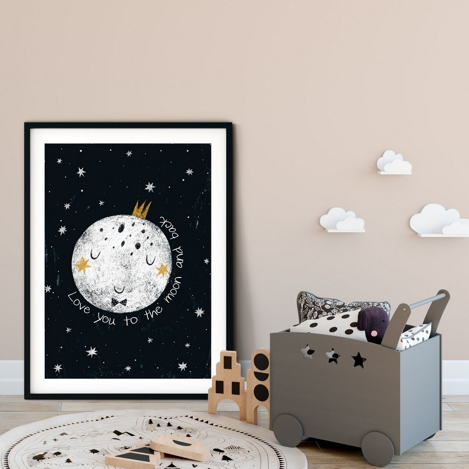 Love You To The Moon And Back Nursery Print