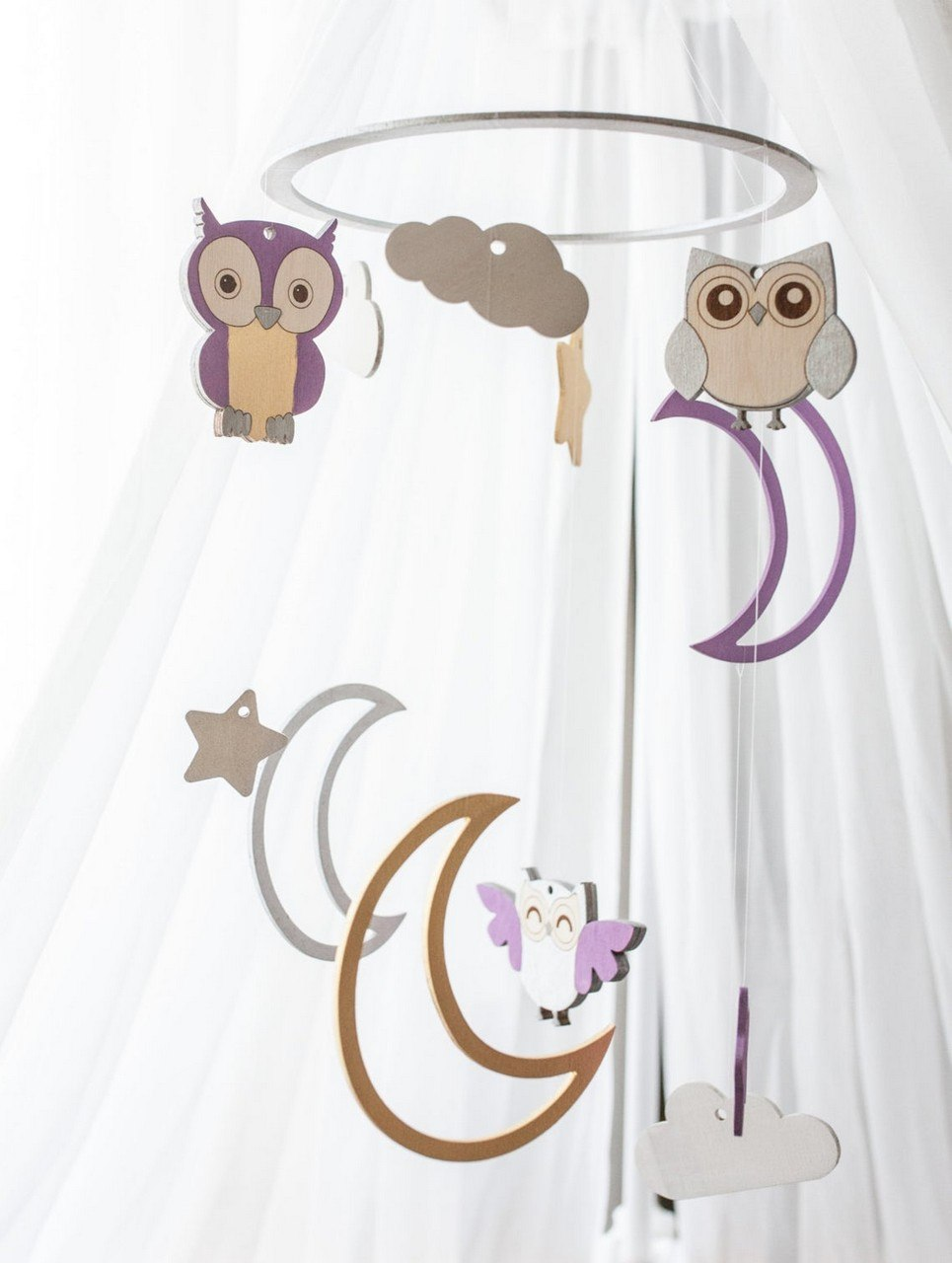 Owl Wooden Baby Mobile