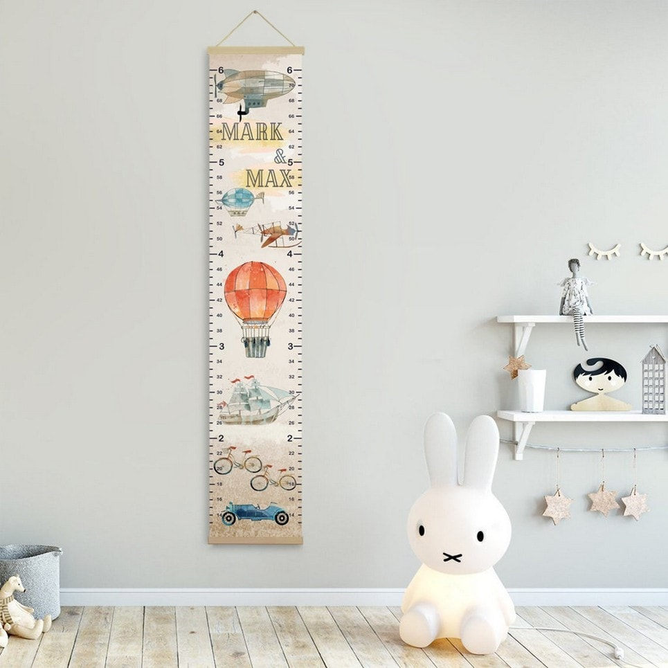 Personalised Airplane Twins Growth Chart-min