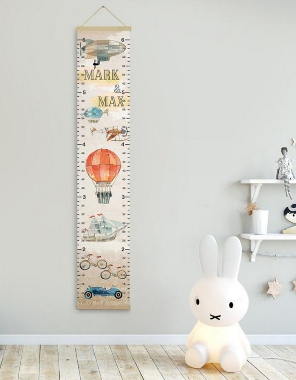 How high are your little creatures? Chart your child's growth development with the Personalised Airplane Twins Growth Chart . This personalised growth chart will look perfect in your children's bedroom, nursery or playroom.
