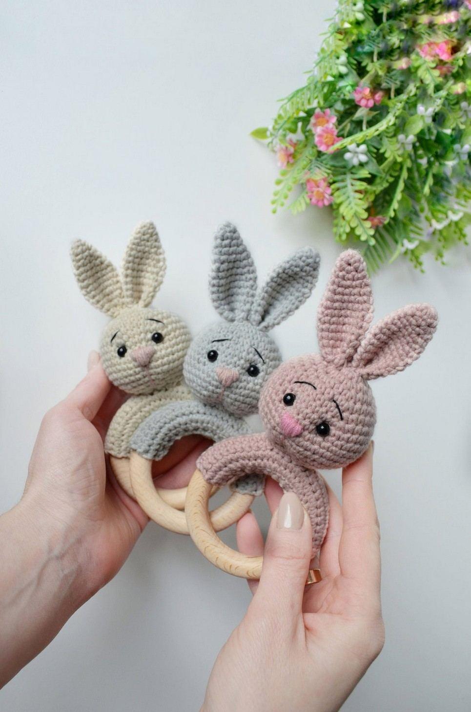 Personalised Bunny Baby Rattle Teether