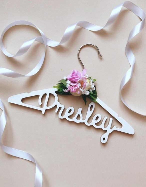 A beautiful way to display tiny clothes and make a wonderful keepsake, the Personalised Floral Baby Clothes Hanger is a lovely little extra for your baby's clothes. A wonderfully unique children's clothes hanger, it is perfect for hanging up their favourite outfit or simply as a wall decoration in their own right.