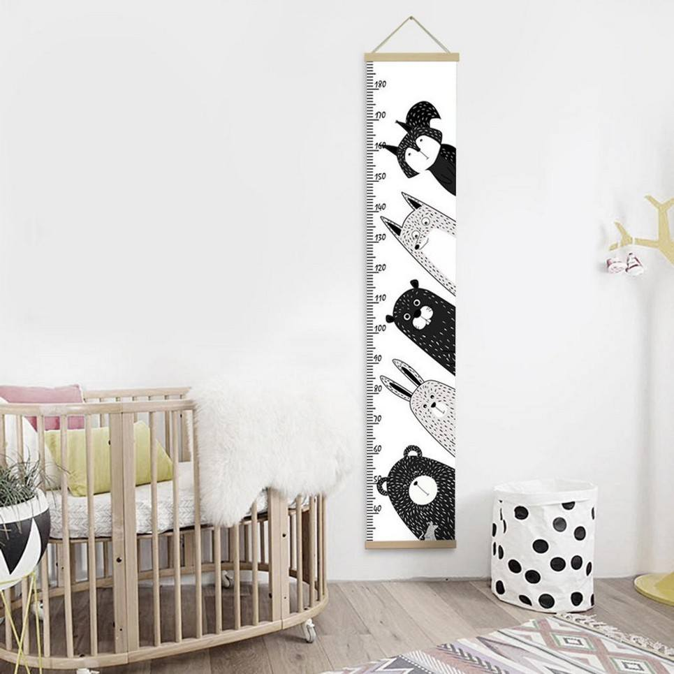Personalised Nordic Nursery Animals Child Growth Chart
