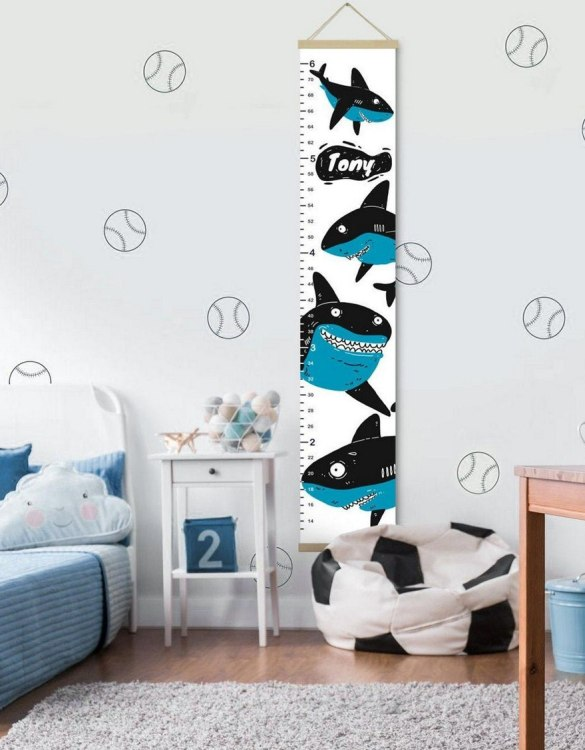 How high are your little creatures? Chart your child's growth development with the Personalised Shark Child Growth Chart. This personalised growth chart will look perfect in your children's bedroom, nursery or playroom.