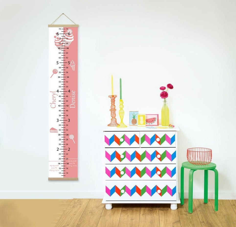 Personalised Sweet Pink Twins Growth Chart-min