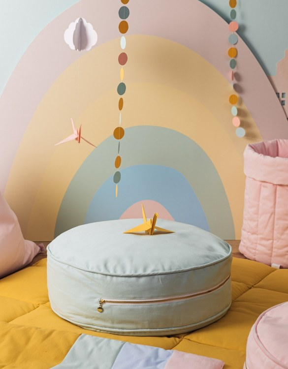 A stunning addition to a children's bedroom, the Plain Mint Children's Ottoman will instantly lift and create interest in any room in your home. A beautiful small ottoman stool, also perfect as a foot stool in a magical nursery theme.