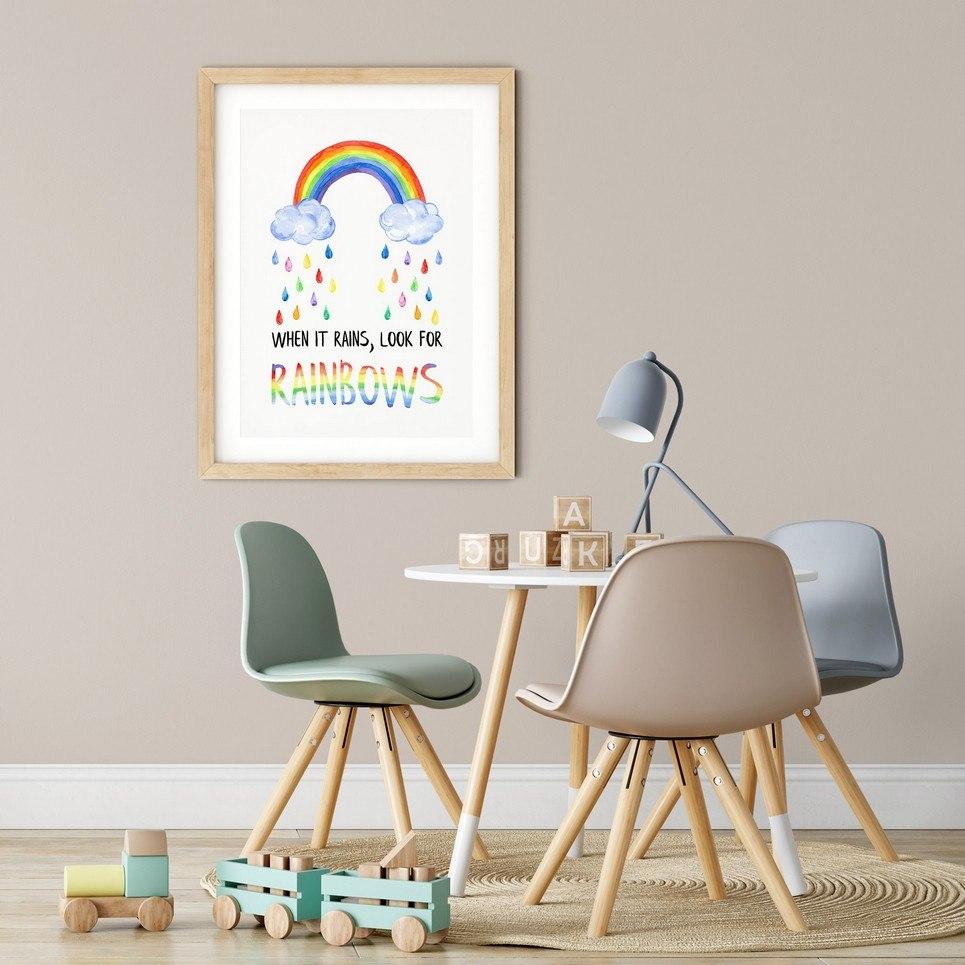 When it Rains Look for Rainbows Nursery Print
