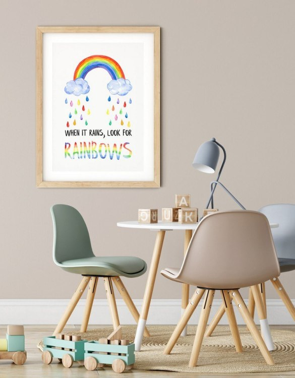 A heartfelt way of capturing a childhood memory forever, the When it Rains Look for Rainbows Nursery Print is perfect to decorate your children's bedroom kids' nursery room decor art or stylish home office desk poster or living room wall.