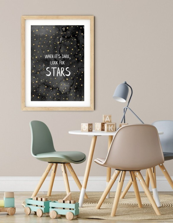 A heartfelt way of capturing a childhood memory forever, the When it's Dark Look for Stars Nursery Print is perfect to decorate your children's bedroom kids' nursery room decor art or stylish home office desk poster or living room wall.