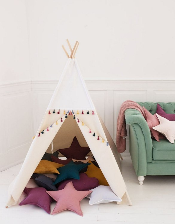 Watch your children create their own adventures with White Boho Children's Play Teepee! Every little adventure needs their own space to let their imaginations run wild and this kids play tent is just perfect.