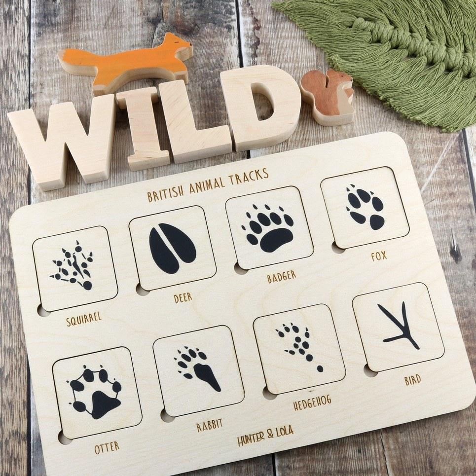 Wooden British Woodland Animal Tracks Puzzle