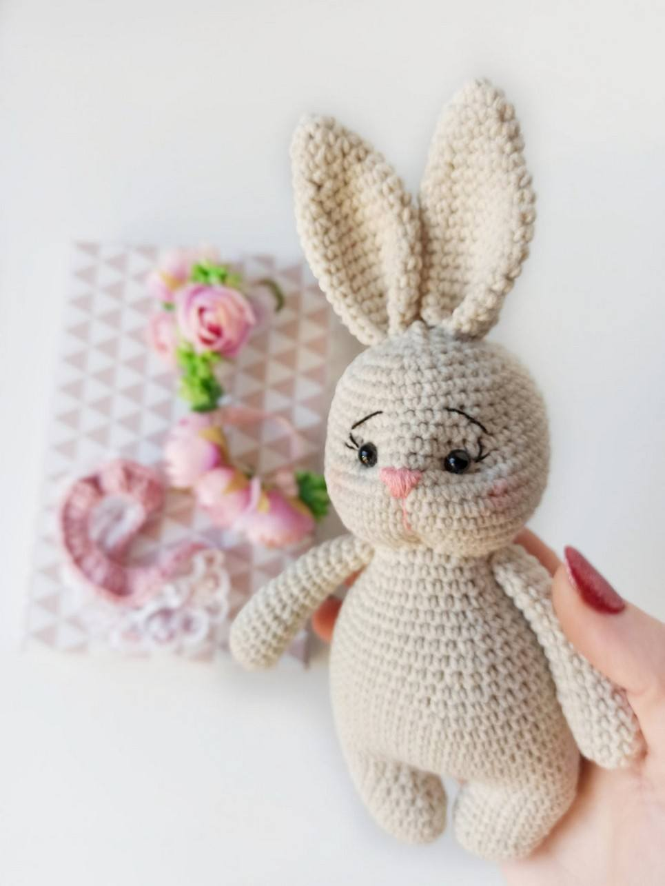 Hand Knitted Cute Bunny Children's Plush Toy