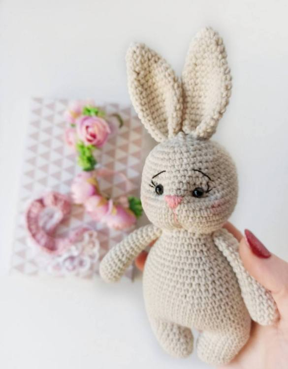 Strong and courageous, the Hand Knitted Cute Bunny Children's Plush Toy will watch over your little one each night and be by their side through every adventure. A friend for life.