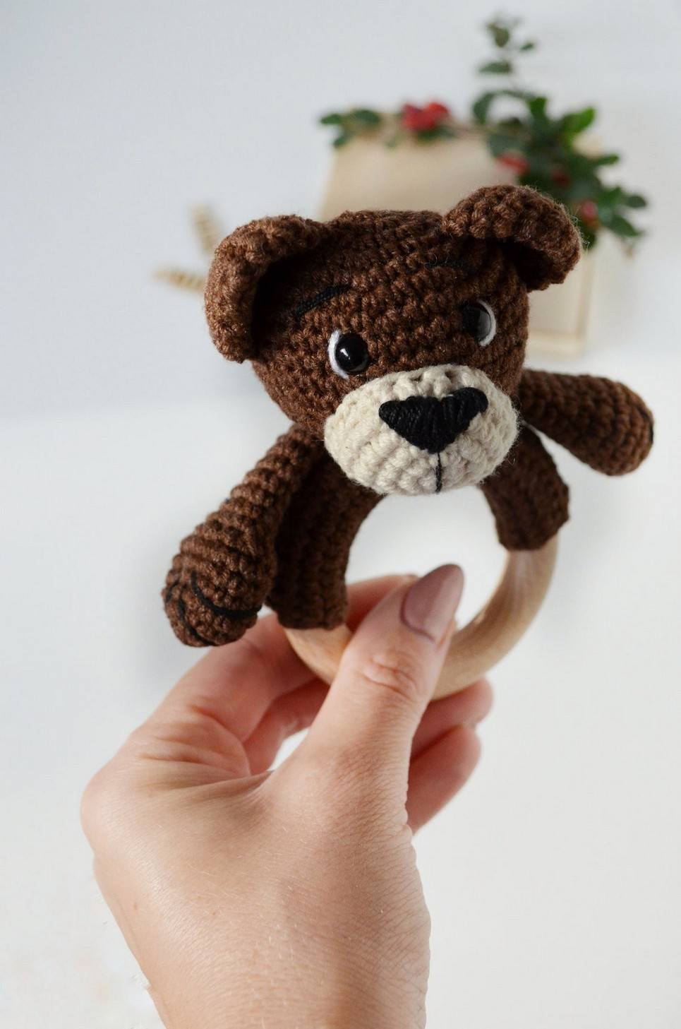 Personalised Bear Baby Rattle Teether