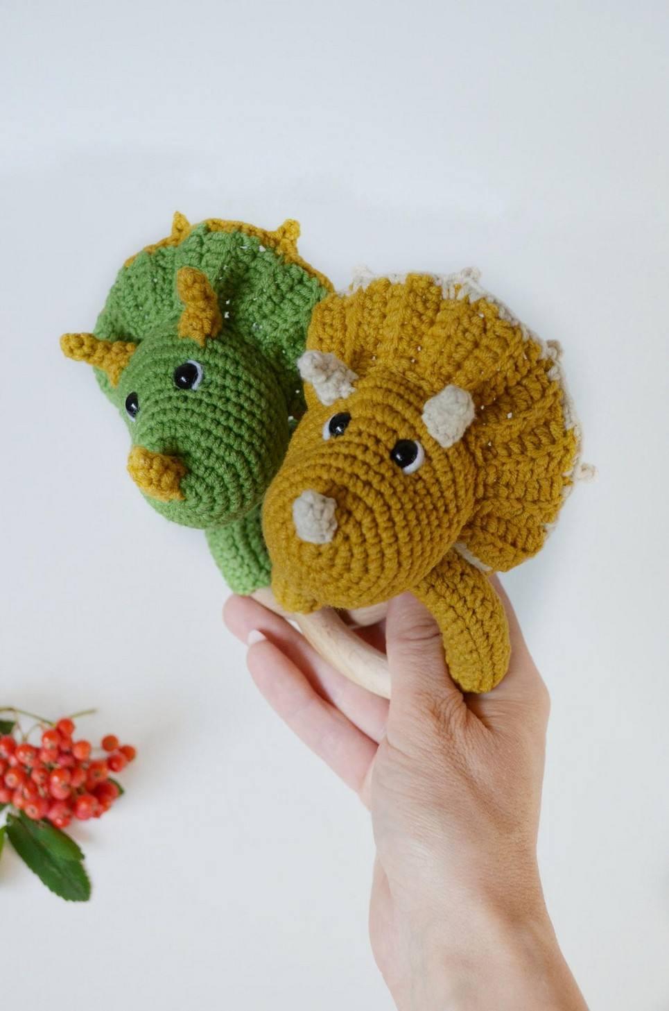 Personalised Dinosaur Baby Rattle Teether