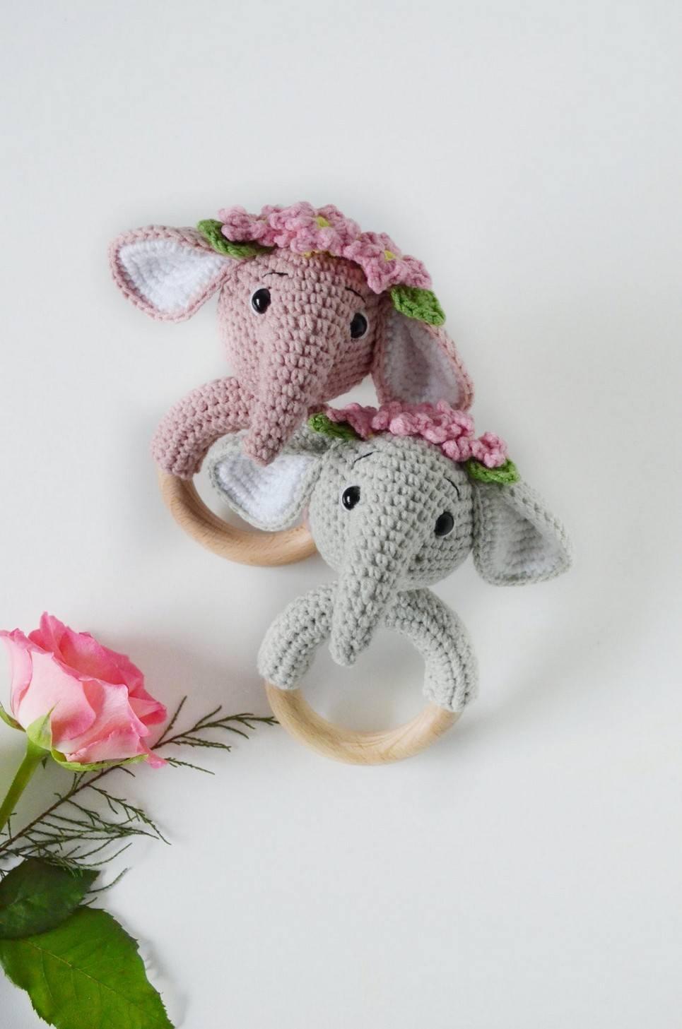 Personalised Elephant Baby Rattle Teether