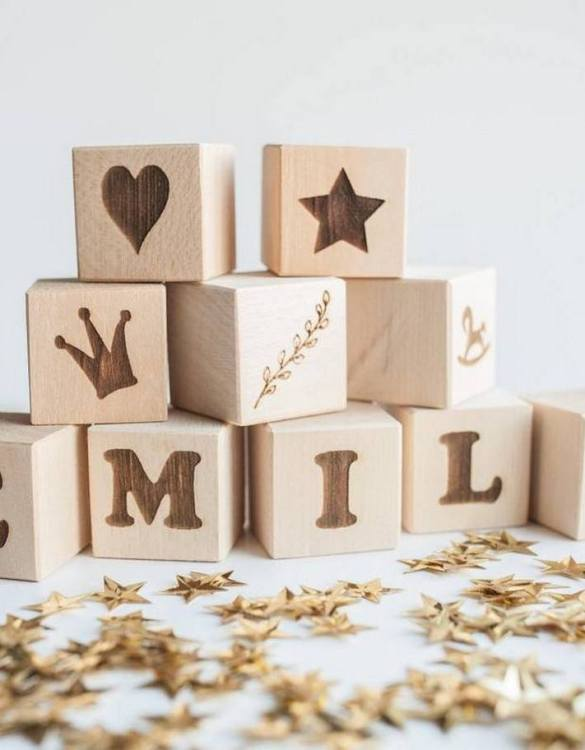 A lovely gift for a little one, the Personalised Name Baby Building Blocks will look beautiful displayed in any little one's nursery. A wonderful set of personalised baby building blocks, perfect as a gift for a newborn baby, a personalised christening gift and a personalised first birthday gift.