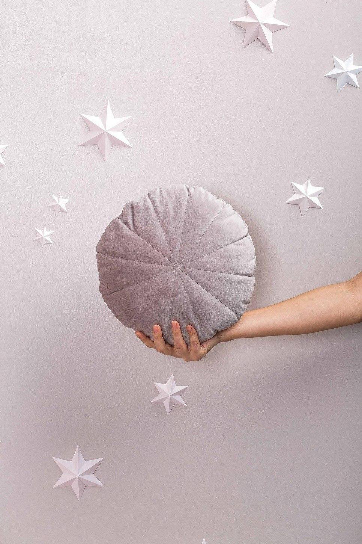 Grey Velour Circle Pillow