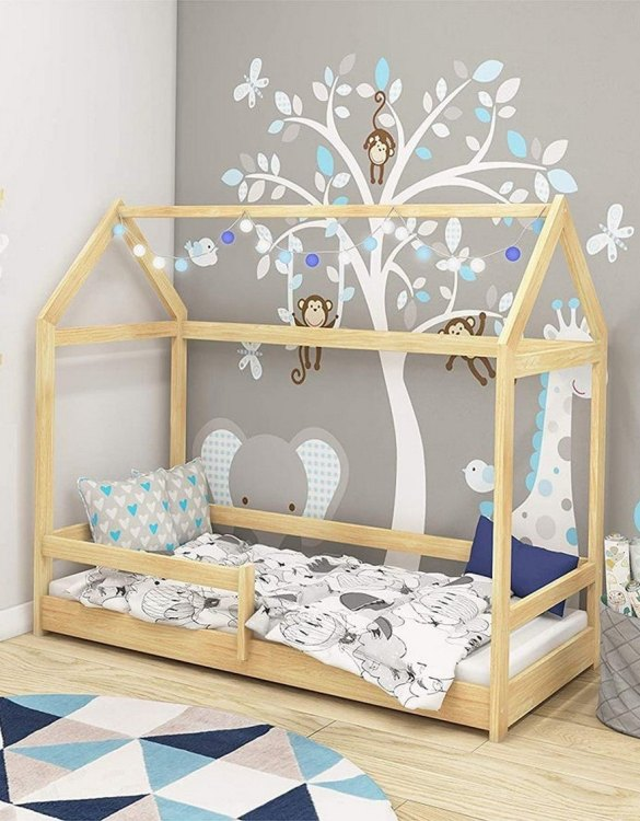 Turn bedtime into a magical adventure with the Hausbett Children Montessori Bed. An amazing Montessori bed for children where they can sleep and play.
