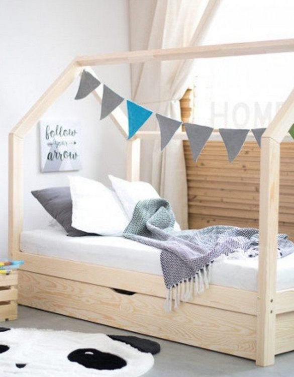 Turn bedtime into a magical adventure with the Hausbett Children's House Bed with Drawer. An amazing Montessori bed for children where they can sleep and play.