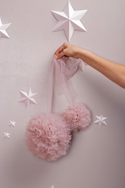 Misty Rose Soft Tulle Pom Poms