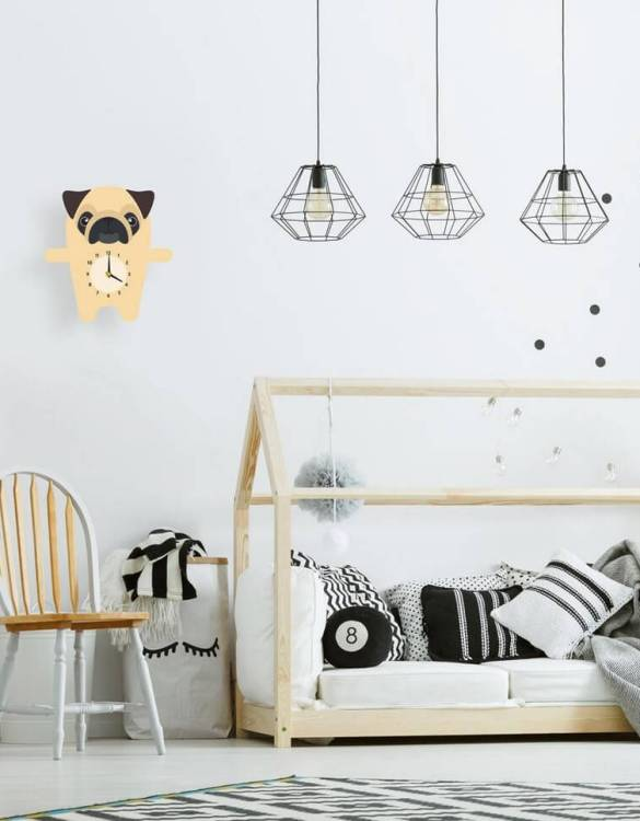 Ideal for hanging on the nursery or bedroom wall, the Pedro The Pug Children's Wall Clock is a great way of helping children learn to tell the time whilst offering a stunning wall decoration!