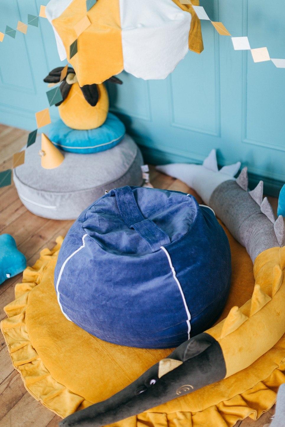 Velvet Deep Blue Children's Bubble Beanbag