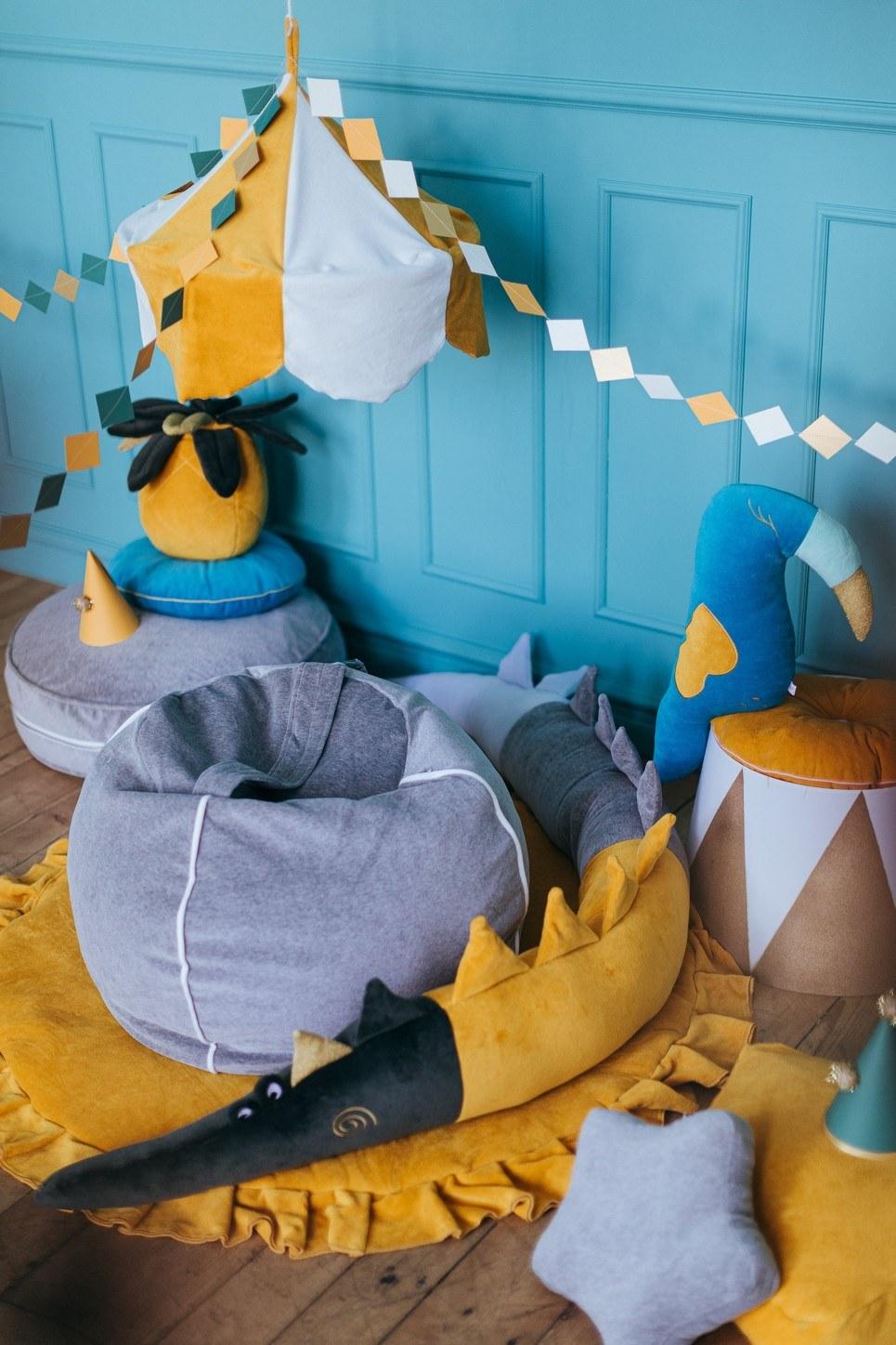 Velvet Grey Children's Bubble Beanbag